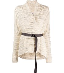 brunello cucinelli open-knit belted cardigan - white