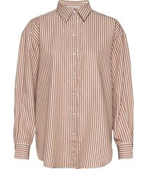gina camel stripe overhemd met lange mouwen beige dagmar