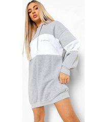 colour block hoodie jurk, grey marl
