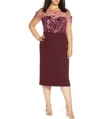 plus size women's js collections sequin bodice crepe cocktail dress