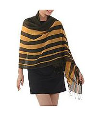 cotton shawl, 'cool stripes in amber' (thailand)