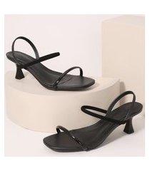 sandália feminina bico quadrado salto médio taça oneself preta