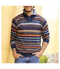 men's 100% alpaca pullover sweater, 'steel blue heights' (peru)