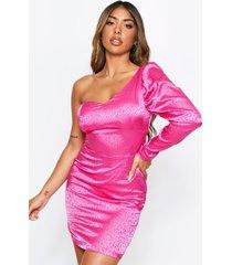 satin jacquard puff sleeve one shoulder dress, pink