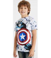 captain america t-shirt reversible sequins - blue - 13/14