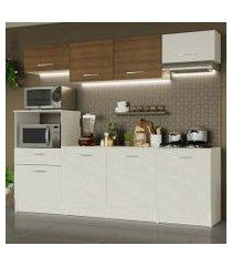 cozinha completa madesa onix 240002 com armario e balcão branco/rustic 099b branco/branco/rustic