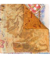 faliero sarti illustrated lady print scarf - neutrals