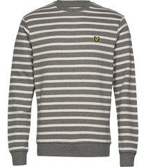 breton stripe sweatshirt sweat-shirt tröja grå lyle & scott