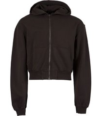 embroidered zipped hoodie,