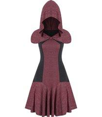 pinstriped hooded mini dress
