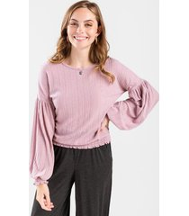 laurel smock sleeve knit top - blush