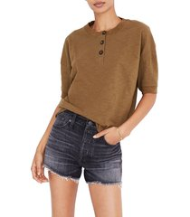women's madewell raw-edge henley tee, size medium - green