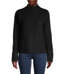 design history women's mockneck faux pearl-trim knitted sweater - very vanilla - size m