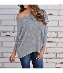 zanzea mujeres hombro de punto acanalado tapas de la camisa blusa ocasional del puente batwing tops gris -gris