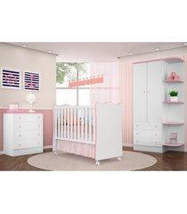 jogo de quarto infantil doce sonho com berço simples branco com rosa - qmovi