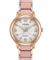 drive from citizen eco-drive women's rose gold-tone stainless steel & pink silicone bracelet watch 36mm