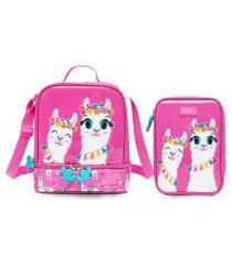 kit lancheira + estojo spector lhama infantil escolar rosa