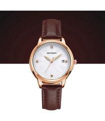 orologi al quarzo alla moda orologi con cinturino in pelle a quadrante rotondo per orologi da donna
