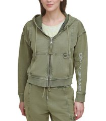 dkny cotton graphic zippered hoodie