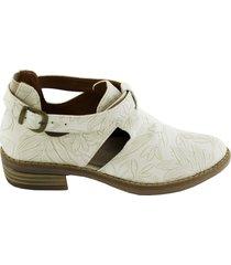 zapato tipo botin hojas - blanco