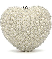 heart shape ladies pearl clutch bag fashion bead evening bag crystal chain handb
