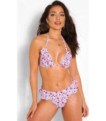 mix & match neon bloemenpatroon hipster bikini broekje met franjes, wit