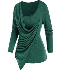 asymmetrical draped heathered t-shirt