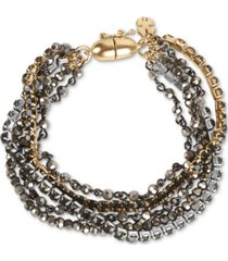 lucky brand tri-tone crystal & bead multi-row magnetic bracelet