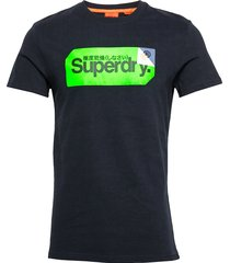 core logo tag tee t-shirts short-sleeved blå superdry