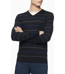 calvin klein merino double stripe v-neck sweater