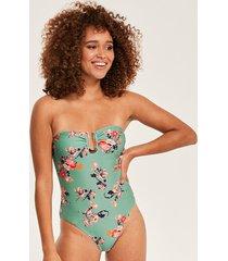 floral print u bar bandeau one-piece swimsuit