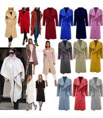 women's italian waterfall long sleeve trench coat ladies jacket winter outwear