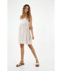 vestido de mujer, diseño corto de cuello recto de tiras, tipo lino