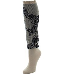 feathers lace knee-high socks