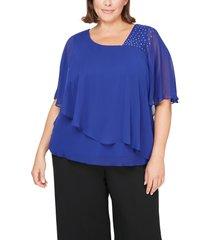 plus size women's alex evenings embellished popover chiffon blouse, size 1x - purple