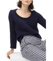 women's j.crew rolled scoop neck sweater, size x-large - blue