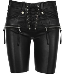 unravel lace-up leather shorts