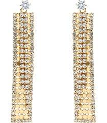 orecchini pendenti rettangolari con strass in metallo dorato per donna