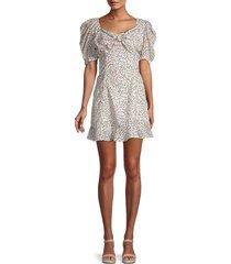avantlook women's puff-sleeve heart-print dress - size l