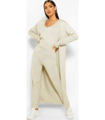 3 piece knitted top cardigan and legging co-ord set, stone