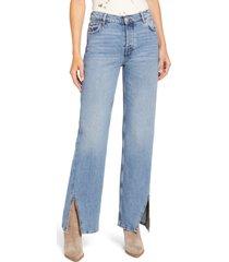 women's free people high waist slit hem jeans, size 26 - blue