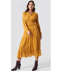 na-kd boho ruffle details flowy midi dress - yellow