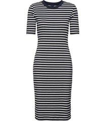 d1. striped rib jersey dress jurk knielengte blauw gant