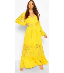 crochet insert maxi dress, mustard