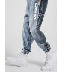 cintura elástica azul con estampado de letras para hombre jeans