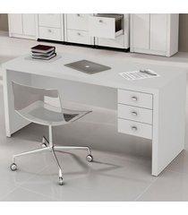 mesa para escritório 3 gavetas branco me4113  - tecno mobili