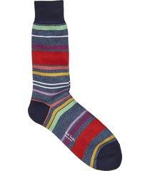 blue melange socks with tera stripe pattern