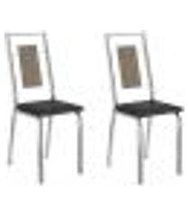 conjunto 2 cadeiras tubo cromado napa preta carraro