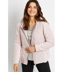 maurices womens lilac quilted front sherpa hooded jacket purple