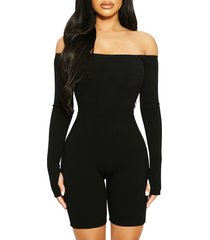 naked wardrobe off the shoulder long sleeve romper, size small in black at nordstrom